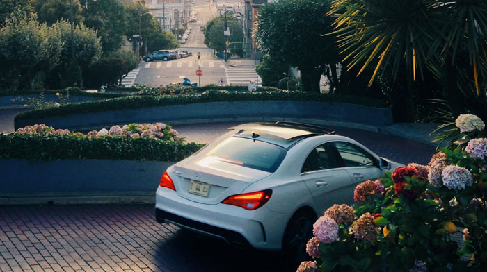 in Cirrus White, as shot by Chris Ozer on Lombard St, San Francisco