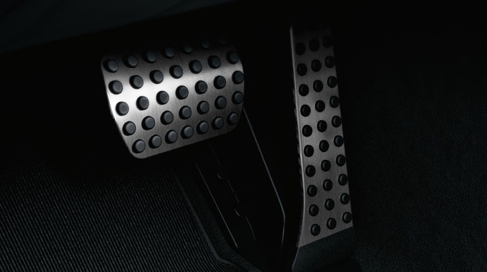 with brushed aluminum pedals