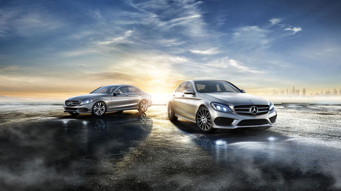 C300 Sedan in Palladium Silver and C400 4MATIC Sedan in Iridium SIlver