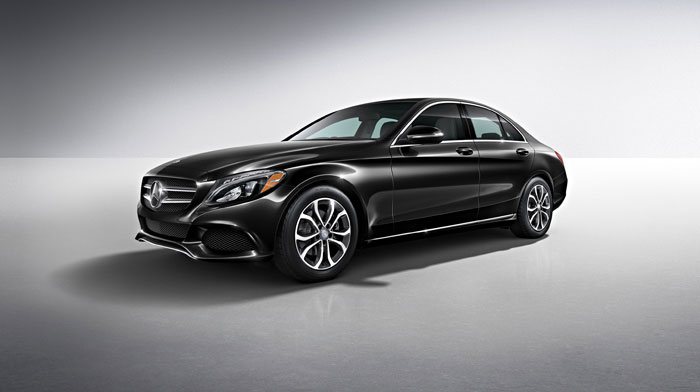 C300 Sedan in Obsidian Black with standard 17-inch wheels