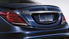 S550 in Lunar Blue with accessory rear spoiler and license plate frame
