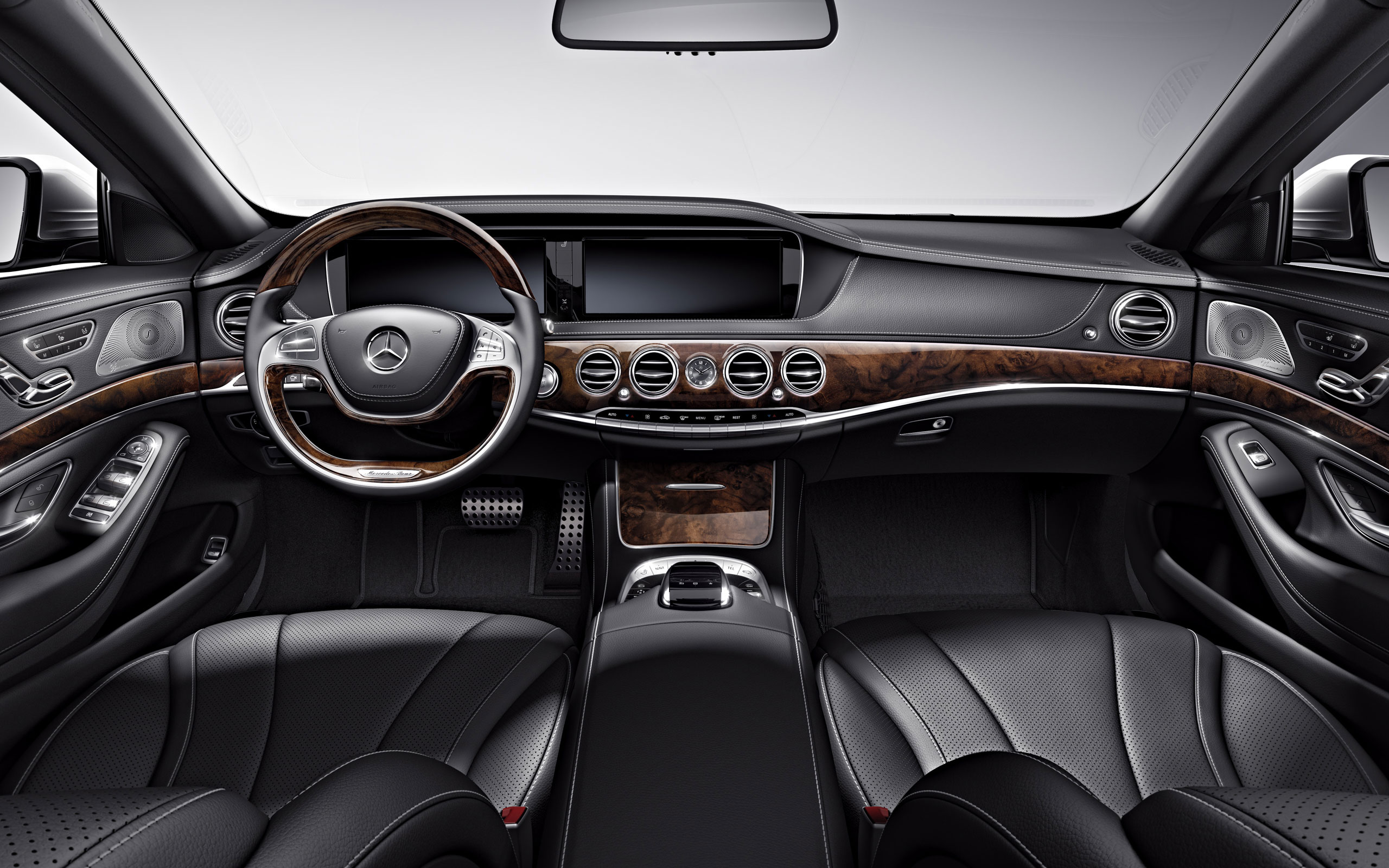s550 with black leather and burl walnut wood trim - Mercedes Benz 2014 S Class Black