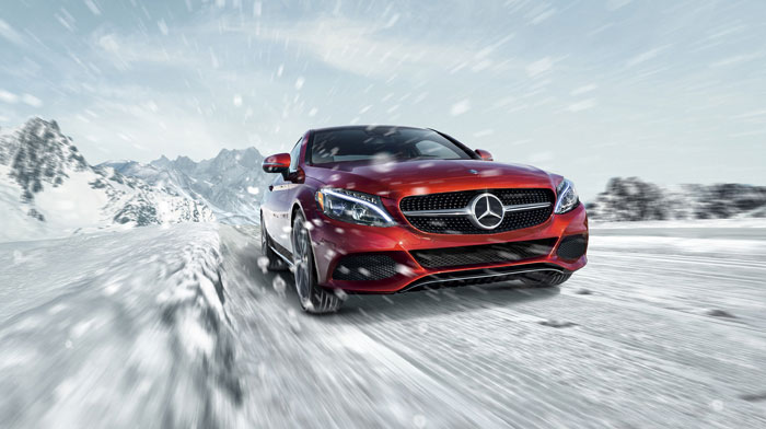 4MATIC Coupe in designo Cardinal Red with standard LED headlamps