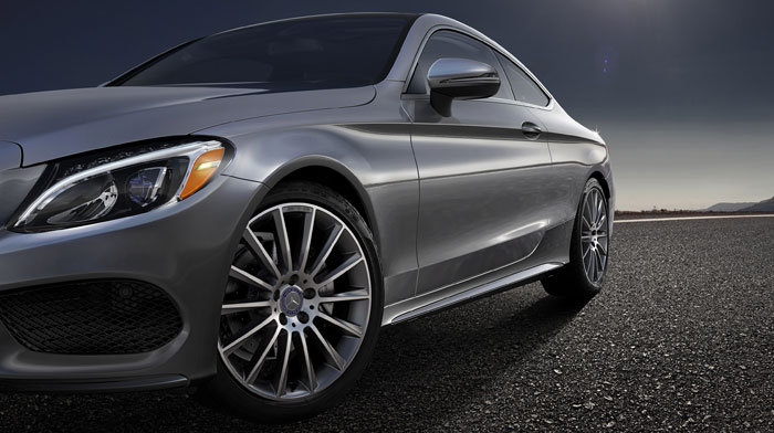 Coupe in Selenite Grey with 19-inch AMG multispoke wheels