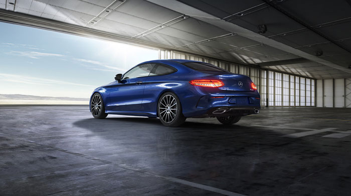 Coupe in Brilliant Blue with Night Package and 19-inch AMG wheels