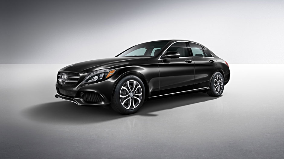 c300 sedan in obsidian black with standard 17 inch wheels