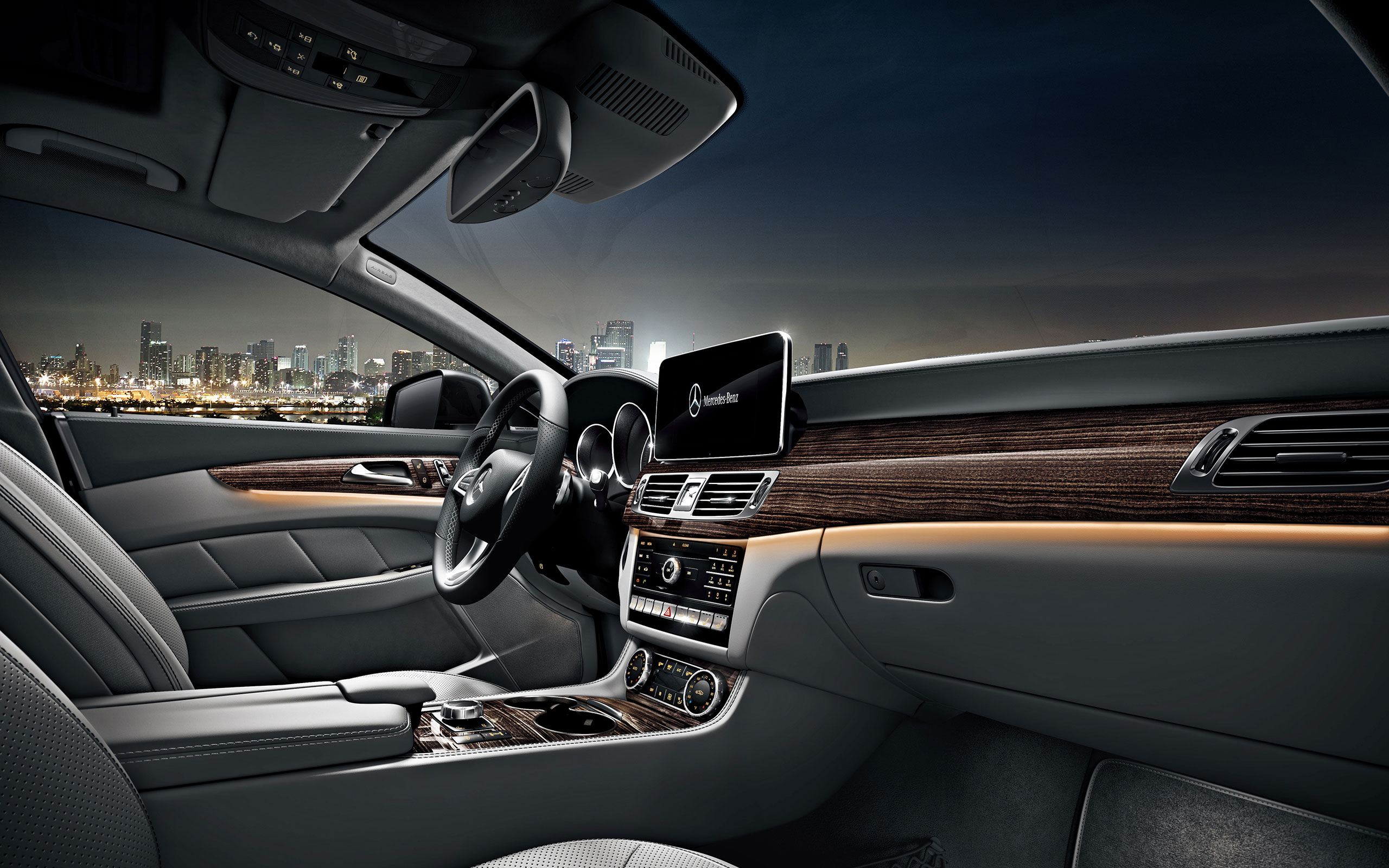 CLS550 With Crystal Grey/ Seashell Leather And Linden Wood Trim